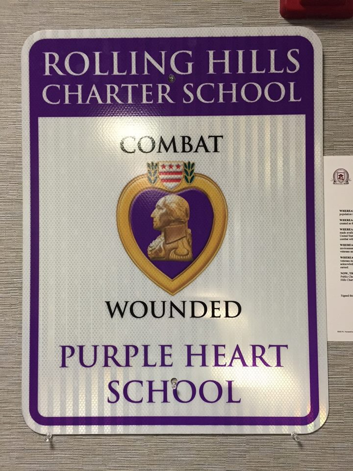 Rolling Hills Purple Heart Sign